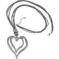 Lagenlook Large chunky double heart silver pendant CZ grey suede long necklace