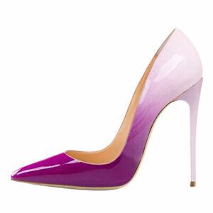 Women Leather High Heel Fashion Pointy Toe Stilettos Shoes Pumps Sandals Slip On