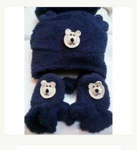 NEW BABY BLUE FLEECE HAT MITTENS SET w/ BEAR DOG 6 9 12 18 MONTHS BOYS INFANT