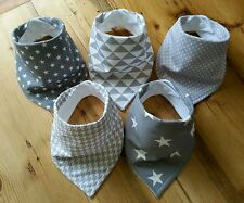 Unisex Baby Bandana Dribble Bib Bundle. Grey Geometric Prints. Little Owl Bibs
