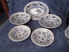 J & G Meakin Classic White Blue Nordic Blue Onion Bowl Set of 5 Take a Peek !