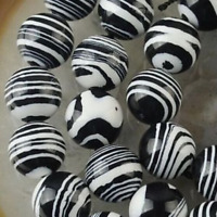 New 8mm Black White Striped Turquoise Gemstone Loose Bead 15''
