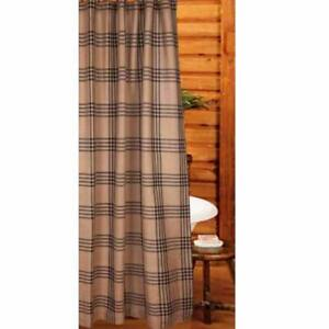 """Chesterfield Check Oat and Black 72"""" x 72"""" Shower Curtain by Raghu"""