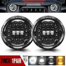 2X 7 Inch Round LED Headlight Halo Angle Eyes For Jeep 97-2017 Wrangler JK LJ TJ