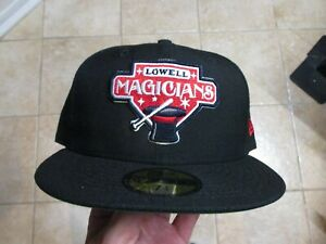 LOWELL MAGICIANS MINOR LEAGUE NEW ERA (5950) FITTED HAT (7 1/4) NWT $38 BLACK