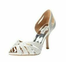 Badgley Mischka Tatiana Crisscross Embellished Peep Toe Heel Pump White Satin5.5