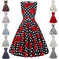 Women  Vintage Style Party 50s 60s Dress Housewife Belt Retro Swing Evening New