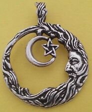 Man in the Moon Sun Star Astrology Heaven Necklace Silver Beautiful Jewelry