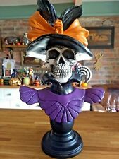 Spooky Skull Victorian Gothic Lady Bust Decoration *Lights Up* Large item