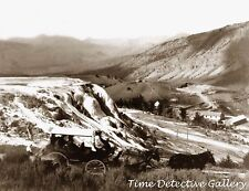 Stagecoach on Jupiter Terrace, Yellowstone, Wyoming -c1900- Historic Photo Print