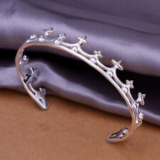 925Sterling Silver Nobal Queen CROSS Crown Women Bracelet Cuff Bangle BAY177