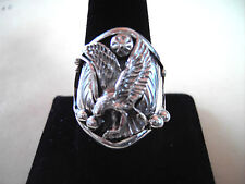 Size 13 Harley Davidson Style Eagle Bikers Sterling Silver Custom Made USA