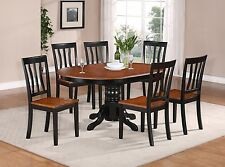 7-PC OVAL DINETTE KITCHEN DINING TABLE w/ 6 WOOD SEAT CHAIRS IN BLACK & CHERRY