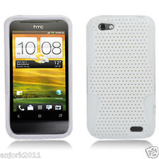 HTC ONE V MESH HYBRID HARD CASE SKIN COVER ACCESSORY WHITE