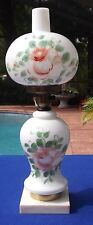 """Vintage 20"""" Hurricane Lamp With Hand Painted Roses and Marble Base"""