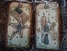 5 WOODEN Patriotic Ornaments/PRiM Americana Hang&Gift Tags/July 4th/USA Set444