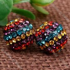 Multicolor Crystal Round Ball Beads Stud Earring 1 Pair