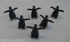 w safari GOOD LUCK MINI BABY PENGUIN lot 6 tiny miniature craft diorama figurine