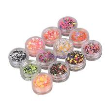12pcs Nail Art 3D Glitter Sequins UV Gel Colorful Shiny Round Sticker Tips Decor