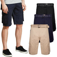 Mens Ex-Store Cargo Shorts Belted Multi Pocket Work Combat Half Pants Cotton Big