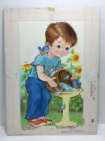 Vtg 75 Norcross Mothers Day Card Boy Bucket Birdbath Bird Original Artwork Proof