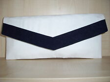 WHITE & NAVY BLUE faux leather envelope clutch bag, fully lined UK made.