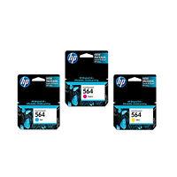 3 OEM HP 564 Color Set C M Y Ink Cartridges For Photosmart 5460