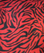 "Zebra fleece fabric sold BTY: Red and black print 60"" wide, sold by the yard."