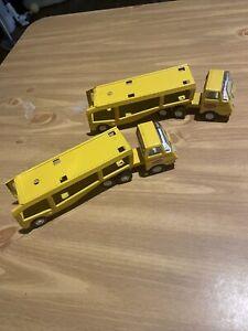 "Two VINTAGE YELLOW TONKA MINI CAR HAULER TRACTOR TRAILER TRANSPORT TRUCK 9"" Toys"