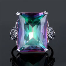 4.3CT Mystic Rainbow Topaz 925 Silver Jewelry Wedding Engagement Ring Size 6-10