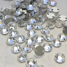 Swarovski Crystal Sew on 12 x 8 mm Clear round feature stones jewels gems 2 hole