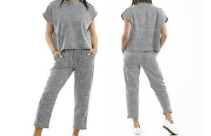 Ladies Check Dogtooth Print Boxy Suit Lounge-wear Women Party Set Tracksuit wear