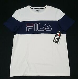 FILA  Men's Chest stripe  Crew neck White blue cotton/Polyester