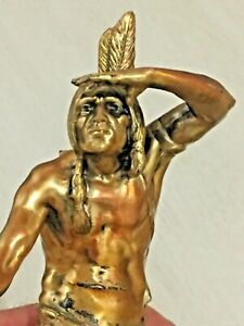 Old Vtg Native American Warrior AF Lauder Signed Brass Sculpture Statue Hunter