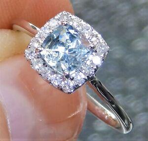 ART DECO 18CT WHITE GOLD 0.6CT AQUAMARINE 0.2CT DIAMOND 3 STONE  CLUSTER RING