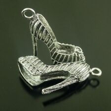 38625 Antique Silver Tone Alloy High Heeled Shoes PEndant Jewelry 6PCS