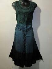 Dress Fits L XL 1X  Green Teal Brown Tie Dye Floral Embroidery Lace Hem NWT 60
