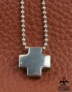 """Tiffany & Co. Sterling Silver """"Swiss Cross"""" Beaded Chain Necklace"""