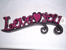 "VALENTINE GIFT Hobby Lobby ""Love You"" pink shimmer Glitter 16""x5.5""x1"" wood"