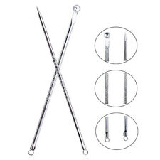 Stainless Steel Blackhead Acne Blemish Pimple Extractor Remover Needle + Clip