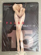 Falke ~ Seidenglatt 15, transparent, shining stockings, black ~ size M