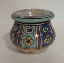 HAND PAINTED CERAMIC 2 PIECE ASHTRAY * FES POTTERY * MULTI COLOUR