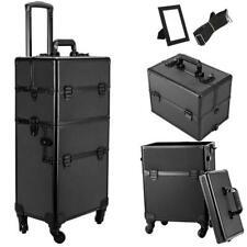 3 in 1 4 Wheel Pro Alu Rolling Makeup Cosmetic Train Case Lockable Wheeled Box