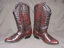 Lea Vamp & Fox Cowboy Boots, Mahogany Leather Pull Tab Western Boots, 7.5 D