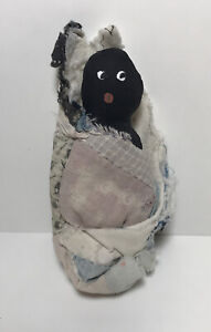"ANTIQUE  CLOTH DOLL 5"" WITH HAND PAINTED FACE & Feedsack blanket Sweet!"