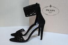 New sz 8 / 38 PRADA BLACK Cutout Suede Ankle Wrap Sandals Heel Shoes