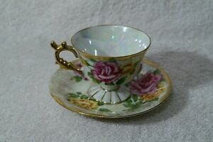 June Rose English Bone China Tea Cup & Saucer Flower of the Month iridescent
