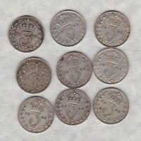 NINE 1926 MODIFIED HEAD SILVER THREEPENCE COINS IN GOOD FINE CONDITION