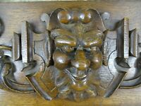"""33"""" French Antique Pediment Solid Oak Wood Salvage Green Man Gothic"""