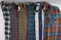 Mens FLANNEL SHIRTS Lot of 6 Random Plaid Cotton Button-Up Work S M L XL